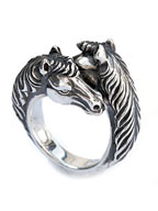 TWO FACE HORSE RING