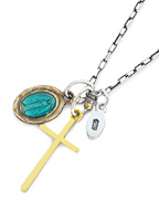 Epoxy Mary & Cross Necklace [13AD-286]