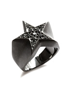 STAR PAVES PINKY RING (MATTE BLACK)