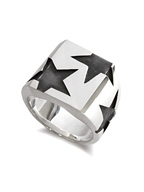 BIG THREE STAR PINKY RING (SILVER)