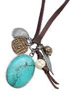 LEATHER AND  TURQUOISE STONE [N-10915]