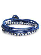 knotted 4 wrap silver thai hammered bead [B-103709-SLV-BLU]