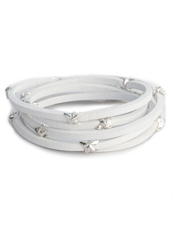 SILVER LEATHER STAR BRACELET (WHITE LEATHER)