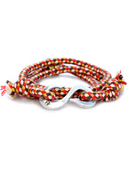 "Multi Check Silver ""S"" Hook Wrap Bracelet"