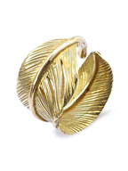K18 Gold Extra Heavy Feather Ring