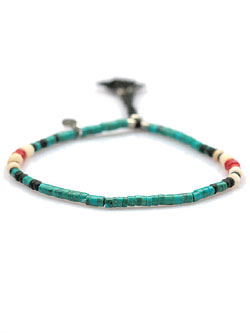 Cord Bracelet with Tube Turquoise