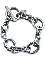 Oval Long & Short Chain Bracelet (Silver)