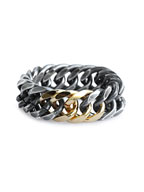 Double Curblink Chain Ring (SIlver w/Gold)