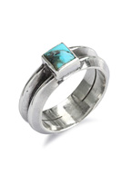 W triangle turquoise ring