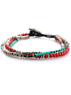Hybrid Star Concho Layered Bracelet Red [15AH-445RD]