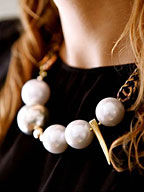 Hand Dyed Antique Gold Chain + White Spheres