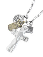Large Cross with Silver Maria, Brass Crest [3AK-102N] / ラージクロス & マリア クレストネックレス