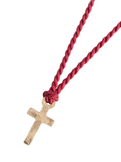 10K Tiny Cross Necklace (Red Silk)