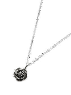 Tiny Rose Necklace Silver