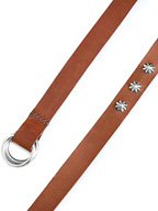 ITALY LONG LEATHER BELT / SILVER CONCHO(BROWN)