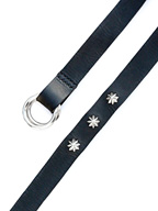 ITALY LONG LEATHER BELT / SILVER CONCHO(BLACK)