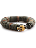Leather Beaded Skull Bangle