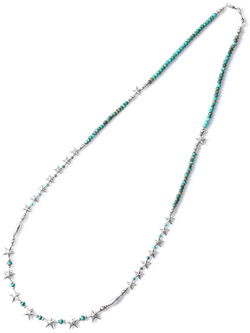 Star Beads Necklace Sv Star&Turquoise Beads