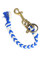 Braided 2 Color Rope Key Fob (Blue × White)