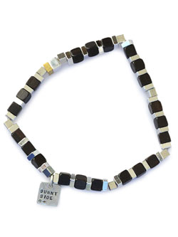SQUARE Wood Beads Bracelet (D.Brown)