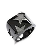 BIG THREE STAR PINKY RING (BLACK)