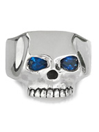 FLAT SKULL RING SYNTHETIC SAPPHIRE
