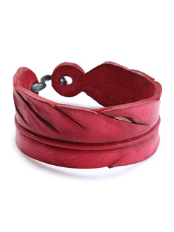 S-hook Carved Leather Feather Bangle (Red)
