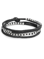 knotted 4 wrap silver thai hammered bead [B-103709-SLV-BLK]