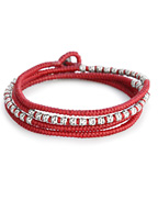 knotted 4 wrap silver thai hammered bead [B-103709-SLV-RED]
