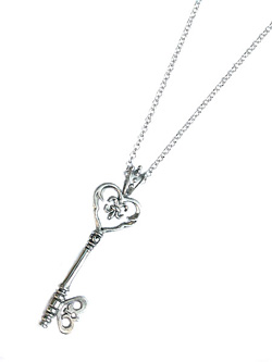 heart skeleton key necklace ハート キー ネックレス