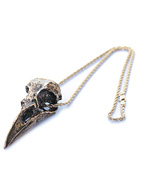 Gold-Plated Crow Skull Necklace