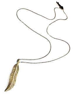 BRASS FEATHER NECKLACE [N-10864]