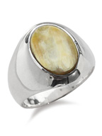 Silver × Buffalo Horn Signet Ring (Natural Mix)