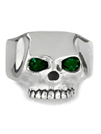 FLAT SKULL RING SYNTHETIC SYNTHETIC EMERALD