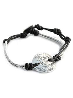 Coin on Leather Bracelet