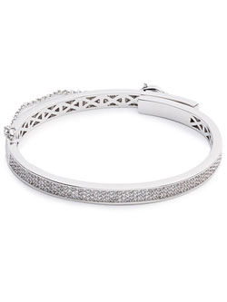PAVE EXTRA THIN SAFETY CHAIN BRACELET (SILVER)