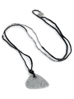 Silver Guitar Pick Necklace (Silver) [N-101052-OXI-OXI-BLK]