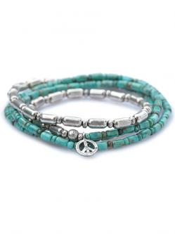 Silver & Turquoise Long Necklace w/Peace