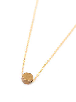 Teardrop Hexagon Stud Necklace
