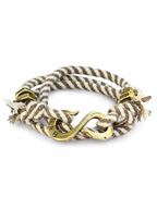 """S"" Hook Twisted Stripe Wrap Bracelet (Olive & White)"