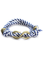 """S"" Hook Twisted Stripe Wrap Bracelet (Navy & White)"