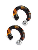 Tortoise Shell 30mm Hoop Pierced Earrings (Amber) [910-508P]