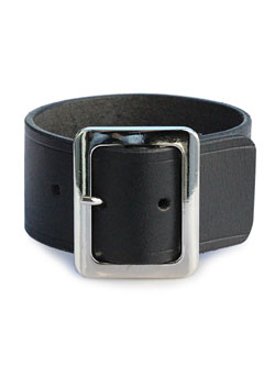Wide Leather Bracelet (Black)