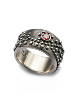 """70'S STUDS"" RING (RED)"
