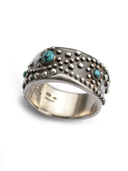 """70'S STUDS"" RING (TURQUOISE)"