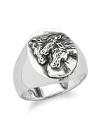 PHARAOHS HORSES RING OVAL (L / Silver)