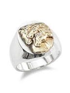PHARAOHS HORSES RING OVAL (L / Silver × K10 Gold)