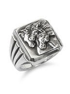 PHARAOHS HORSES RING SQUARE (Silver)