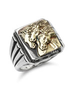 PHARAOHS HORSES RING SQUARE (Silver × K10 Gold)