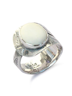 SPOON RING WHITE TURQUOISE